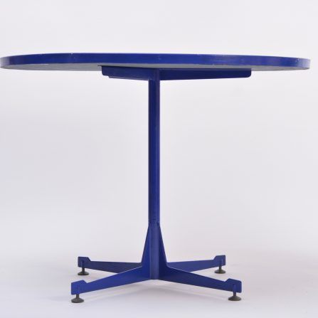 Mid-century-Italian-blue-dining-table-with-enameled-copper-top-1950s