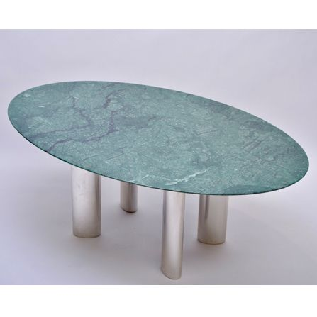 Large-green-marble-&-chromed-metal-dining-table-1980s