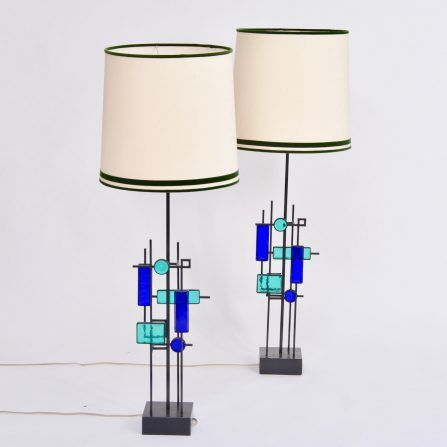 Pair-of-tall-Iron-and-Glass-table-lamps-by-Svend-Aage-Holm-Sorensen