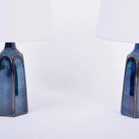 Pair-of-tall-blue-Mid-Century-modern-stoneware-table-lamp-model-1042-by-Einar-Johansen-for-Søholm