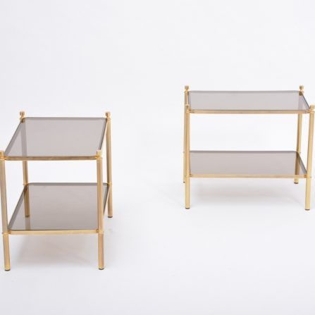 Pair-of-1970s-French-side-tables-made-of-gilt-metal-and-smoked-glass