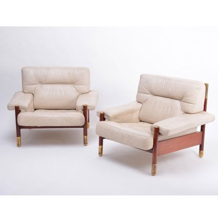 "Pair-of-beige-Mid-Century-Modern-lounge-chairs-model-""Sella""-by-Carlo-de-Carli"
