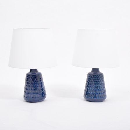 Pair-of-Mid-Century-Model-1019-Blue-Stoneware-Table-Lamps-by-Einar-Johansen-for-Søholm