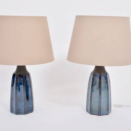 Pair-of-tall-blue-Stoneware-table-lamps-model-1042-by-Einar-Johansen-for-Søholm