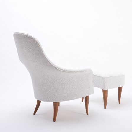 'Large Adam' reupholstered lounge chair with ottoman by Kerstin Hörlin-Holmquist