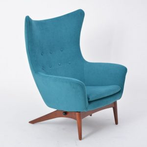Reupholstered Danish Mid-Century Modern reclining chair designed by H.W. Klein