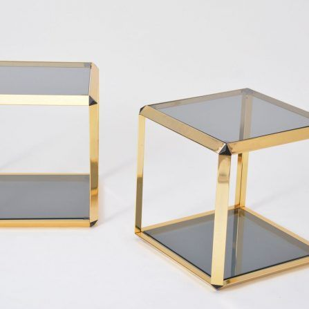 Pair-of-gold-colored-side-tables-by-Alberto-Rosselli-for-Saporiti