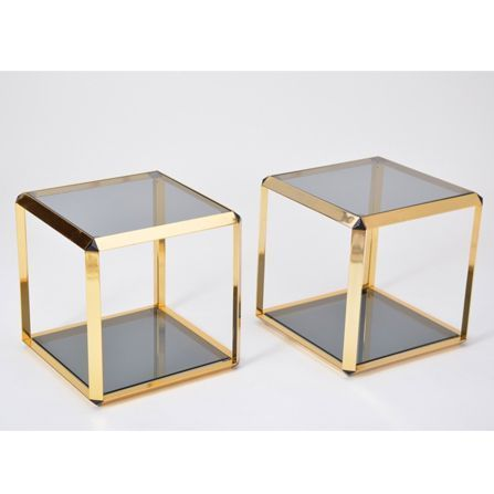Pair of vintage Italian Gold-Rimmed metal and glass side tables