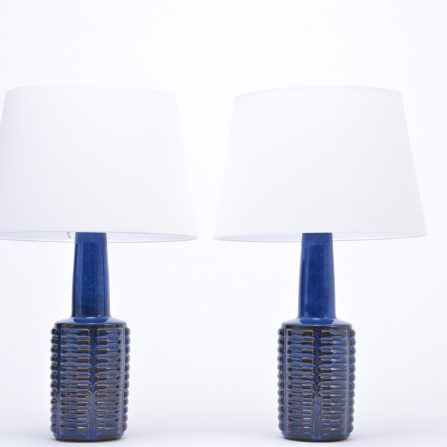 Pair-of-tall-blue-vintage-stoneware-table-lamps-by-Einar-Johansen-for-Søholm