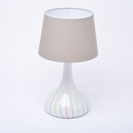 Tall-white-Mid-Century-glass-table-lamp-by-Holmegaard
