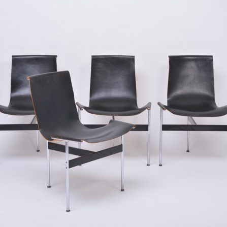 Set-of-four-vintage-T-chairs-in-black-Leather-by-Katavolos-,-Littell-and-Kelly