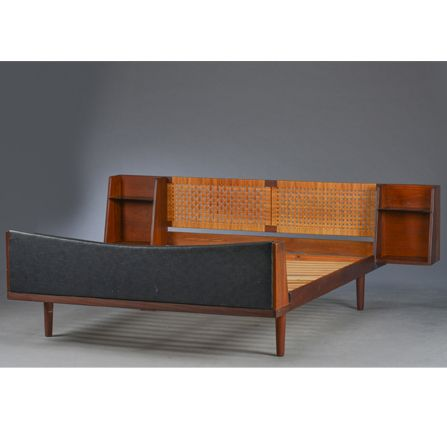 Danish-Midcentury-Teak-double-bed-with-Cane-headboard-by-Hans-Wegner