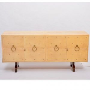 Midcentury Italian Sideboard in Beige Lacquered Goat Skin by Aldo Tura