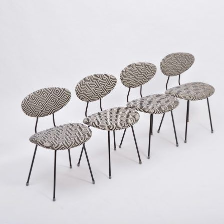 Set-of-four-reupholstered-Mid-Century-Modern-dining-chairs-by-Rudolf-Wolf-for-Elsrijk