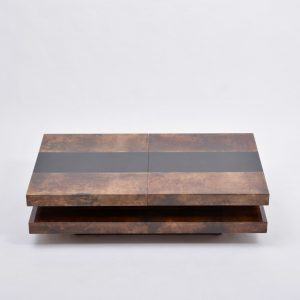 Brown-Italian-two-tiered-sliding-coffee-table-with-hidden-bar-by-Aldo-Tura