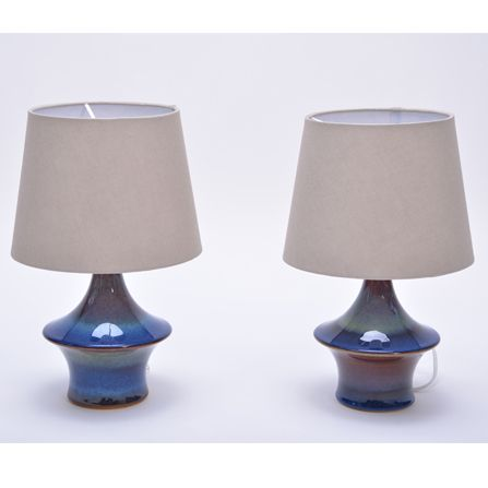 Pair-of-vintage-blue-table-lamps-from-Soholm
