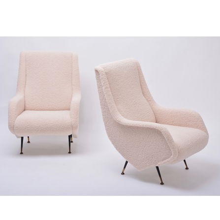 Pair of beige reupholstered Mid-Century Modern Italian armchairs in faux teddy fur in the style of Aldo Morbelli