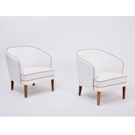 Pair of white reupholstered Danish Mid-Century armchairs by Ludvig Pontoppidan