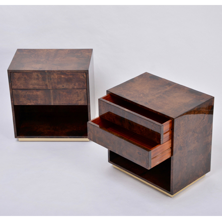 Mid-Century Modern brown bedside tables made of laquered goat skin by Aldo Tura