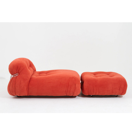 Afra & Tobia Scarpa 'Soriana' Chaise Lounge Chair with Ottoman in Red